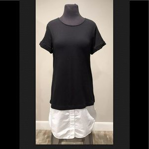 Theory Bunnell Shirttail Dress sz M Black White